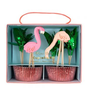 meri meri cupcake set flamingo